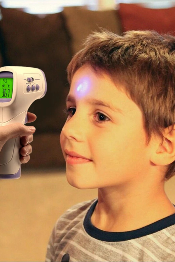 Kids temperature check using infrared thermometer